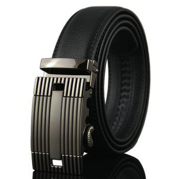 Auto Buckle Stripe Engraved Waist Belt GUN METAL