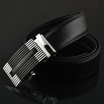 Auto Buckle Stripe Engraved Waist Belt -  SILVER