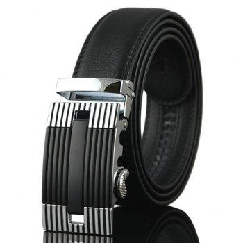 Auto Buckle Stripe Engraved Waist Belt - SILVER SILVER