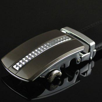 Alloy Tiny Plaid Buckle Faux Leather Belt - SILVER