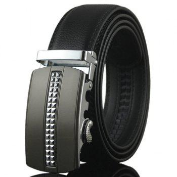 Alloy Tiny Plaid Buckle Faux Leather Belt
