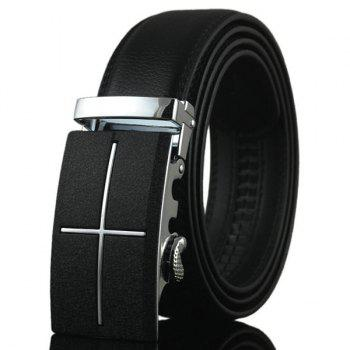 Buy Cross Metal Auto Buckle Fake Leather Belt BLACK