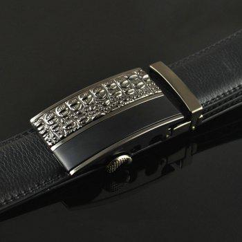Carved Splicing Automatic Buckle Belt -  BLACK