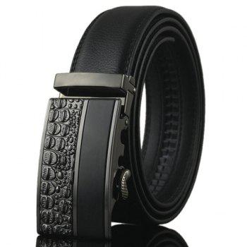 Carved Splicing Automatic Buckle Belt - BLACK BLACK