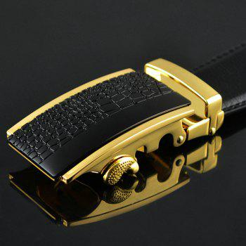 Rectangle Emboss Alloy Auto Buckle Belt -  BLACK/GOLDEN