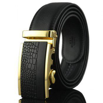 Rectangle Emboss Alloy Auto Buckle Belt - BLACK AND GOLDEN BLACK/GOLDEN