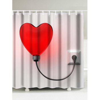 Love Heart Light Polyester Fabric Shower Curtain