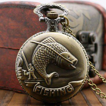 Pêche Sculpture Vintage Pocket Watch - Cuivre