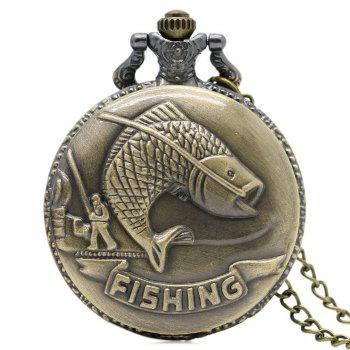 Fishing Carving Vintage Pocket Watch