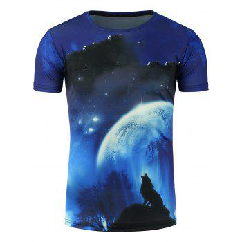 Moon and Wolf 3D Print Galaxy T-Shirt