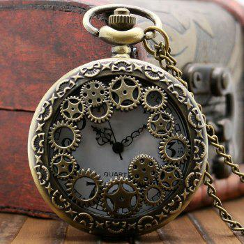 Hollowed Engrenage Vintage Pocket Watch - Bronzé