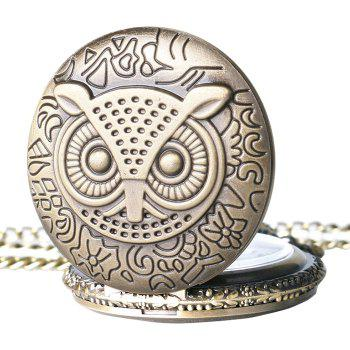 Carved Owl Vintage Pocket Watch -  COPPER COLOR