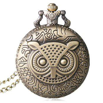 Carved Owl Vintage Pocket Watch - COPPER COLOR COPPER COLOR