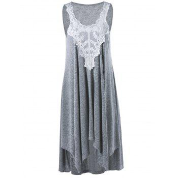 Lace Insert Midi Casual Handkerchief Dress Day