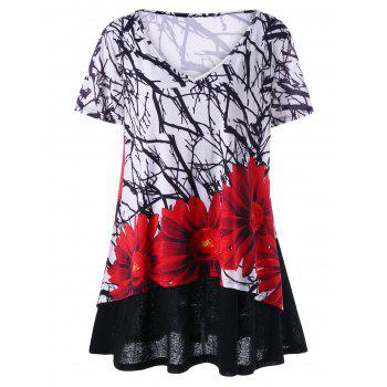 Plus Size Layered Floral T-Shirt