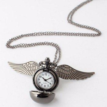 Ball Pocket Watch with Wings -  GUN METAL