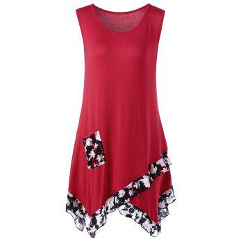 Buy Lace Panel Flounce Tank Top Pocket RED