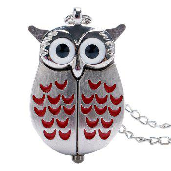 Owl Shape Number Quartz Pocket Watch - RED RED