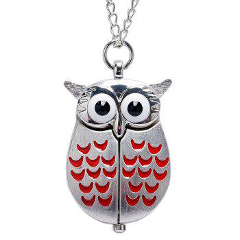 Owl Shape Number Quartz Pocket Watch -  RED