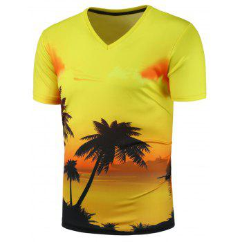 3D Sunset Glow Print V Neck Tee