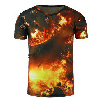 Short Sleeve 3D Flame and Planet Print T-Shirt