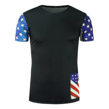 Short Sleeve Stars and Stripes Print T-Shirt