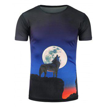 Wolf Howl and Moon 3D Print T-Shirt