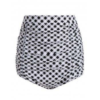Plaid Vintage Cheeky High Waisted Bikini Shorts - CHECKED CHECKED