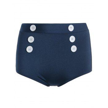 Buttoned Vintage Cheeky High Waisted Bikini Bottom Shorts - DEEP BLUE DEEP BLUE