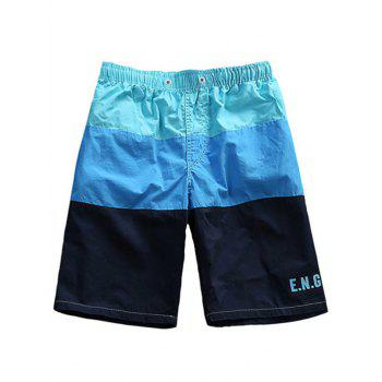 Buy Color Block Drawstring Waist Board Shorts BLUE