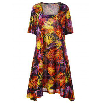 Plus Size Tropical Print Mini Swing Dress - COLORMIX COLORMIX