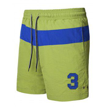Color Block Graphic Embroidered Sports Shorts