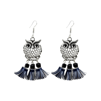 Faux Leather Tassels Owl Earrings