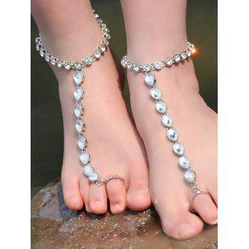 ONE PIECE Rhinestone Teardrop Anklet
