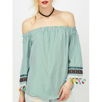 Striped Tassel Trim Off The Shoulder Blouse