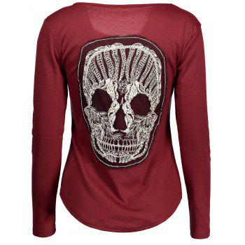 Skull Lace Panel Long Sleeve T-Shirt