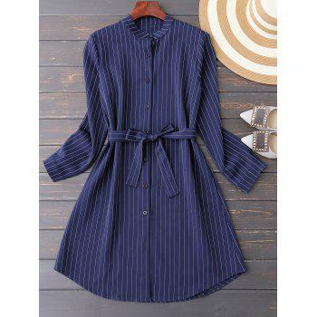 Belted Button Up Striped Dress