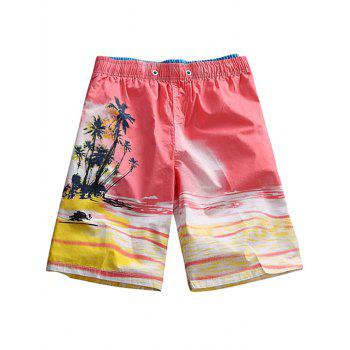 Drawstring Coconut Tree Print Boardshorts