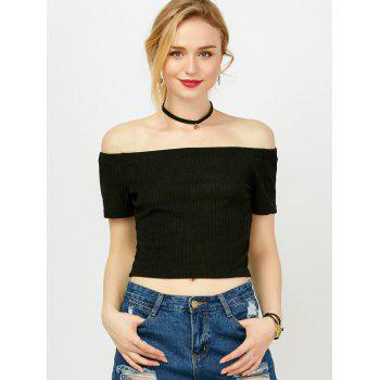 Short Sleeve Off The Shoulder Crop Top - BLACK BLACK