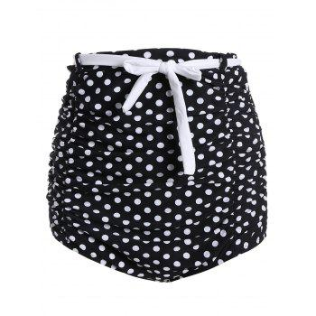 Polka Dot Ruched High Waisted Bikini Bottom Shorts