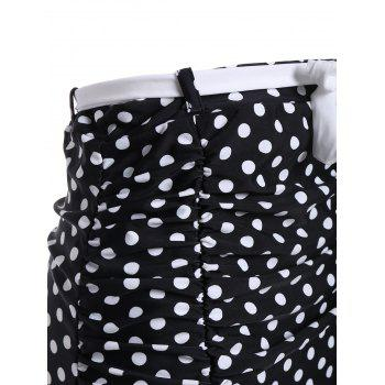Polka Dot Ruched High Waisted Bikini Bottom Shorts - BLACK BLACK