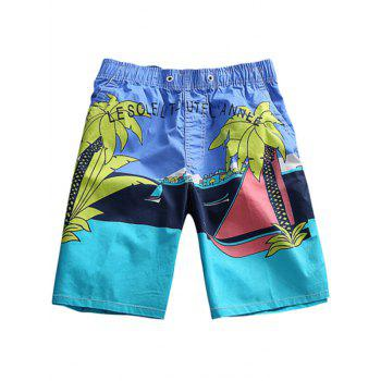 Color Block Tree Print Board Shorts