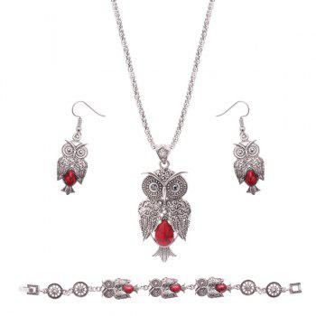 Owl Shape Faux Gemstone Jewelry Set