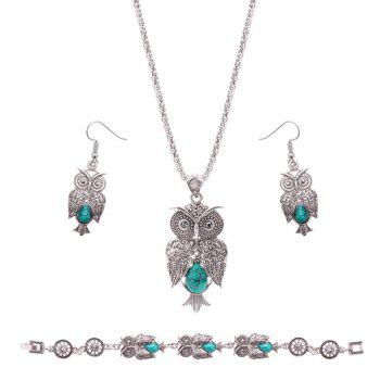 Owl Design Artificial Gemstone Jewelry Set