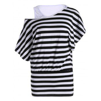 Batwing Sleeve Stripe Top With Tank Top