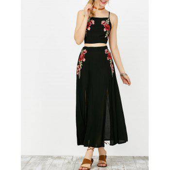 Floral Embroidered Camis and Maxi Slit Skirt - BLACK BLACK