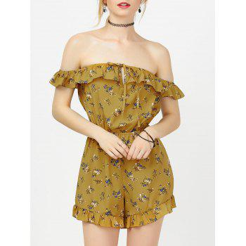 Off The Shoulder Ruffles Floral Print Romper