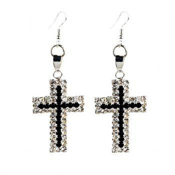 Rhinestoned Crucifix Drop Earrings