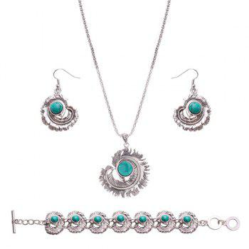 Feather Rammel Ball Jewelry Set
