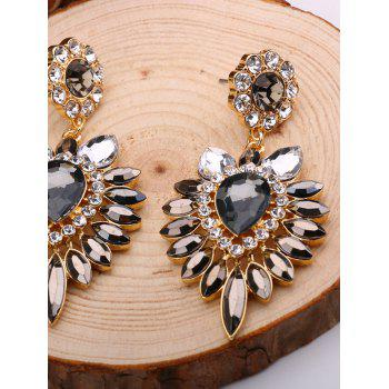 Faux Gem Rhinestone Teardrop Flower Earrings - multicolorCOLOR